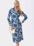 Серое платье на запах с принтом и английским воротником 53453, фото 4