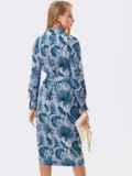 Серое платье на запах с принтом и английским воротником 53453, фото 5