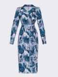 Серое платье на запах с принтом и английским воротником 53453, фото 6
