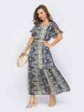 Шифоновое платье с принтом и юбкой клеш темно-синее 53449, фото 2
