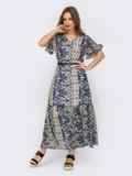 Шифоновое платье с принтом и юбкой клеш темно-синее 53449, фото 3