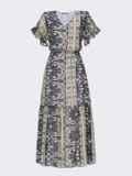 Шифоновое платье с принтом и юбкой клеш темно-синее 53449, фото 5