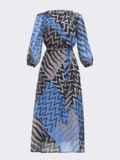 Шифоновое платье с принтом и запахом на груди синее 53446, фото 4