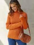Вязаный свитер с высоким воротником оранжевый 54910, фото 1
