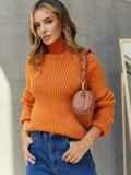 Вязаный свитер с высоким воротником оранжевый 54910, фото 2