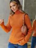 Вязаный свитер с высоким воротником оранжевый 54910, фото 3