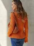Вязаный свитер с высоким воротником оранжевый 54910, фото 4