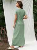 Длинное платье с коротким рукавом зеленое 53775, фото 2