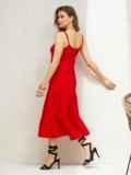 Красный сарафан свободного кроя на узких бретелях  46664, фото 2