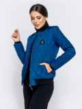 Стёганая куртка-бомбер синего цвета 40414, фото 2