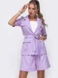 Фиолетовый комплект с шортами в стиле сафари 49547, фото 2