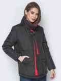 Чёрная куртка на кнопках и кольцом под горловиной 20076, фото 2