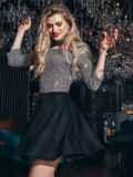 Чёрное платье из люрекса с юбкой-полусолнце 42851, фото 2