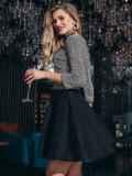 Чёрное платье из люрекса с юбкой-полусолнце 42851, фото 3