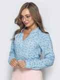 Голубая блузка с цветочным принтом и V-вырезом 39848, фото 1