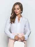 Классическая блузка с V-вырезом белая 39844, фото 1