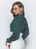 Зеленая блузка в горох с воротником-аскот 39851, фото 2