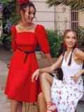 """Красное платье с рукавами-фонариками и вырезом """"каре"""" 53813, фото 1"""