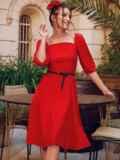 """Красное платье с рукавами-фонариками и вырезом """"каре"""" 53813, фото 2"""