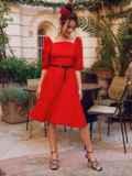 """Красное платье с рукавами-фонариками и вырезом """"каре"""" 53813, фото 3"""