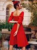 """Красное платье с рукавами-фонариками и вырезом """"каре"""" 53813, фото 4"""