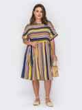 Платье в полоску с расклешенной юбкой и коротким рукавом 53969, фото 2