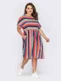 Платье в полоску с расклешенной юбкой и коротким рукавом 53970, фото 2
