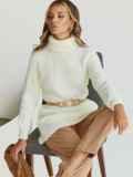 Вязаная туника молочного цвета с высоким воротником 54917, фото 1