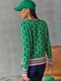 Вязаный джемпер с геометрическим узором зелёный 54914, фото 5