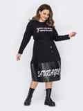 Черное платье батал свободного кроя с накаткой 53230, фото 2
