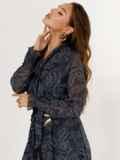 Расклешенное платье с принтом и воланом по низу графитовое 52469, фото 5