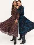 Расклешенное платье с принтом и воротником-стойкой черное 52539, фото 4