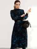 Расклешенное платье с принтом и воротником-стойкой черное 52539, фото 5