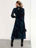 Расклешенное платье с принтом и воротником-стойкой черное 52539, фото 8