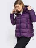 Зимняя куртка со съемным капюшоном фиолетовая 45420, фото 2
