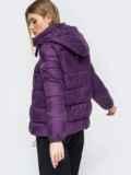 Зимняя куртка со съемным капюшоном фиолетовая 45420, фото 3