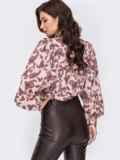 Бордовая блузка с принтом и объемными рукавами 51915, фото 3