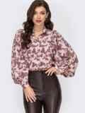 Бордовая блузка с принтом и объемными рукавами 51915, фото 2