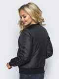 Демисезонная куртка черного цвета с бусинами на рукавах и карманах 14686, фото 3