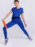Синий комплект для фитнеса из футболки и лосин 44714, фото 1