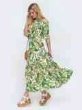 Зелёное платье с принтом и открытыми плечами  46854, фото 2