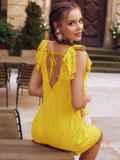 Желтое платье из прошвы с открытой спинкой 54087, фото 1