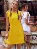 Желтое платье из прошвы с открытой спинкой 54087, фото 2
