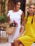 Желтое платье из прошвы с открытой спинкой 54087, фото 4