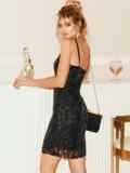 Черное платье на узких бретелях расшитое пайетками 52141, фото 4