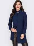 Удлиненная рубашка с супатной застёжкой темно-синяя 52096, фото 2