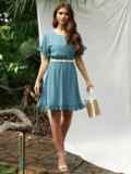 Бирюзовое платье из шифона в горох с юбкой-клеш 53678, фото 2