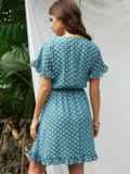Бирюзовое платье из шифона в горох с юбкой-клеш 53678, фото 3