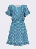 Бирюзовое платье из шифона в горох с юбкой-клеш 53678, фото 4