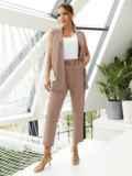 Льняной костюм из жилета и укороченных брюк бежевый 54602, фото 1